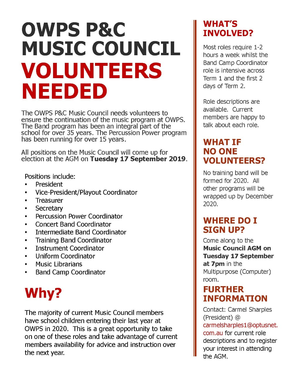 OWPS P and C MUSIC COUNCIL VOLUNTEERS NEEDED
